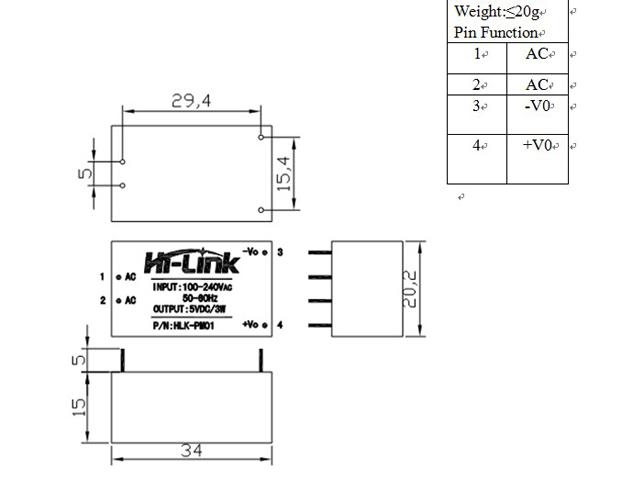 ac-dc module 220vac to 5vdc  u0026quot hlk-pm01 u0026quot